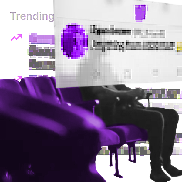 "A greyed‐out man sits in a purple chair. An enormous semi‐transparent tweet with a pixellated texture floats in front of him, facing away, blocking his face. In the background, a distorted Facebook ""Trending"" pane is visible."